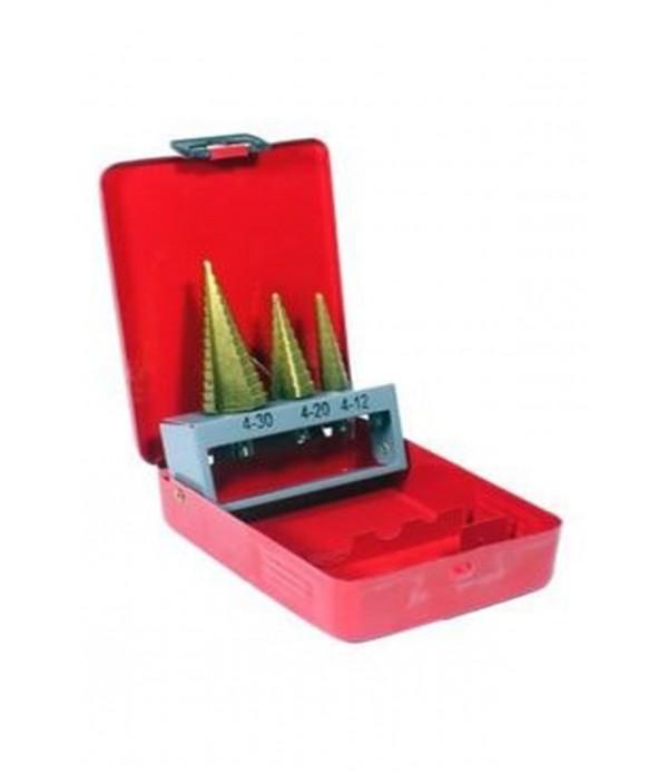 Kademeli matkap ucu seti 4-12mm+ 4-20 mm+ 4-30 mm